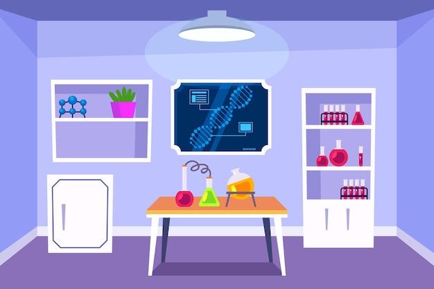 Cartoon style laboratory room