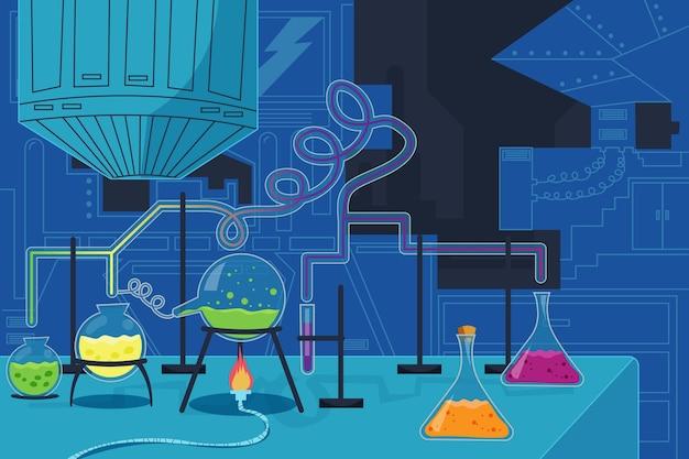 Stanza del laboratorio in stile cartone animato