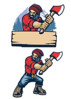 나무꾼의 만화 스타일 마스코트