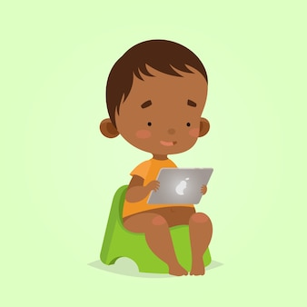 Cartoon style. modern technologies for kids. baby toddler boy with tablet on a potty.