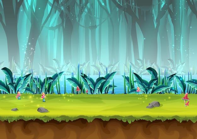 Cartoon style mystery rain forest illustration