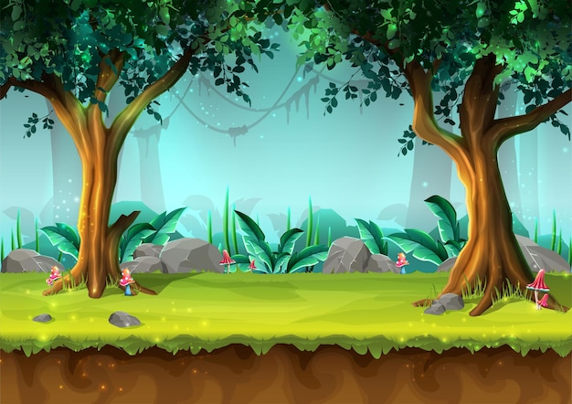Cartoon style mystery rain forest with trees and mushrooms illustration