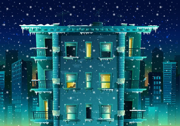 Cartoon style night winter city with snow flakes background building with many floors and windows with balconies