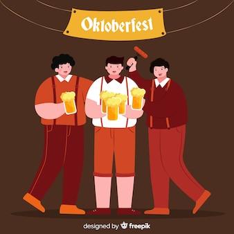 Cartoon style people celebrating oktoberfest