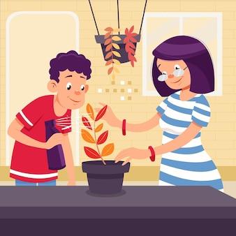 植物の世話をする漫画風の人々