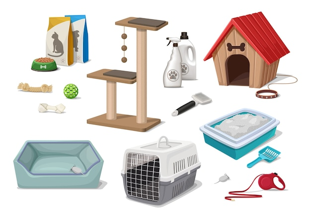 만화 스타일 애완 동물 가게 슈퍼마켓 개와 고양이 쓰레기 집 놀이 나무 장난감 손질 도구 음식 팩