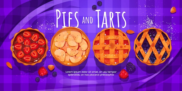 Cartoon style of pies and tarts background