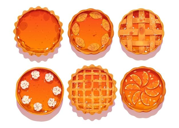 Cartoon style of pumpkin pies top view