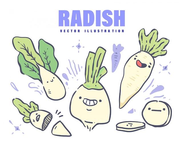 Cartoon style radish doodle