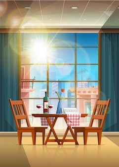 Cartoon style restaurant with romantic table set up