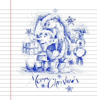 Cartoon style santa claus snowman with bunny gift pack. merry christmas pen sketch.