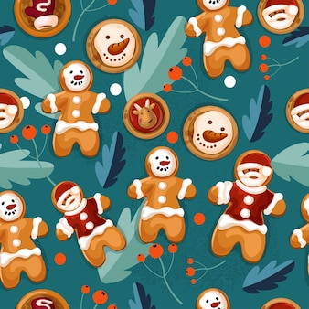 Cartoon style seamless pattern with gingerbreadman