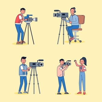 漫画のスタイル。漫画のキャラクターでニュースを報告するテレビのビデオマンとジャーナリストのセット、違いのアクションはフラットなイラストを分離しました。