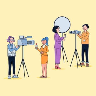 Мультяшный стиль. набор телевизионного видеомана и журналиста, сообщающего новости в мультипликационном персонаже, действие разницы, изолированное плоской иллюстрацией.