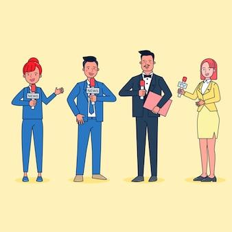 Stile cartone animato. insieme del giornalista televisivo che riporta le notizie nel personaggio dei cartoni animati, illustrazione piana isolata azione di differenza.