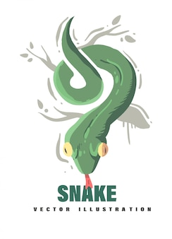 漫画スタイルのヘビのデザイン。ヘビのベクトル図