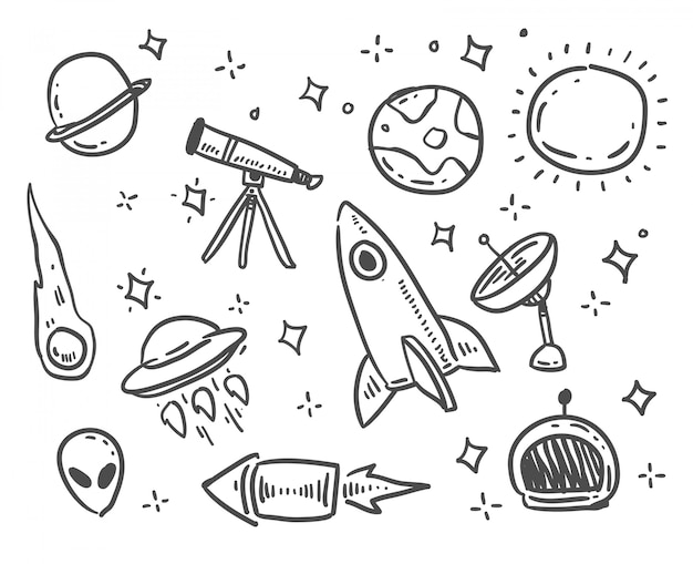 Cartoon style space doodle