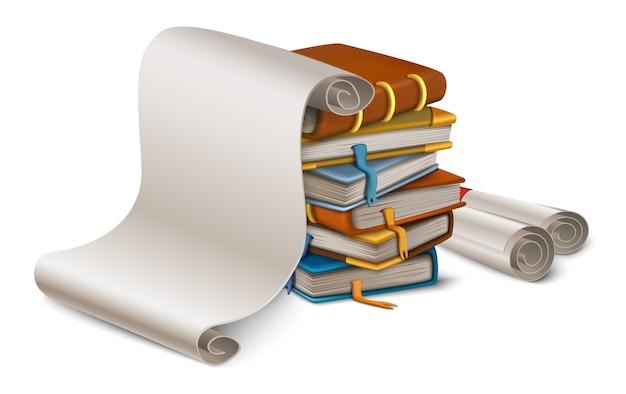 Стопка книг и чистый лист бумаги в мультяшном стиле