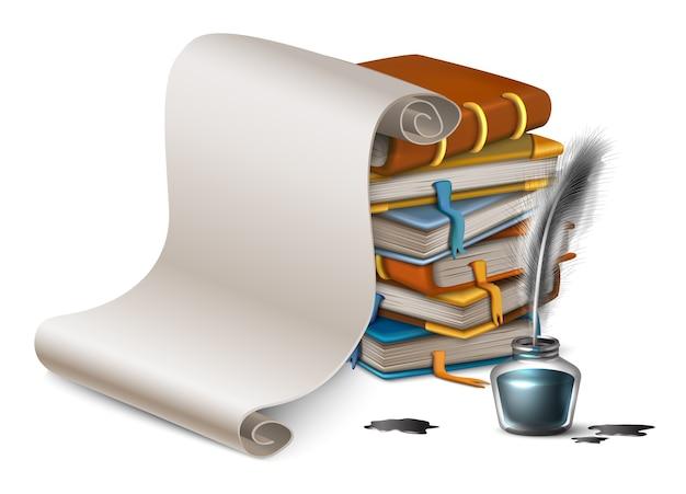 Мультяшный стиль стопку книг и чистый лист бумаги.