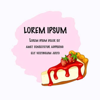 Cartoon style  strawberry cheesecake with berry and place for text on the white background