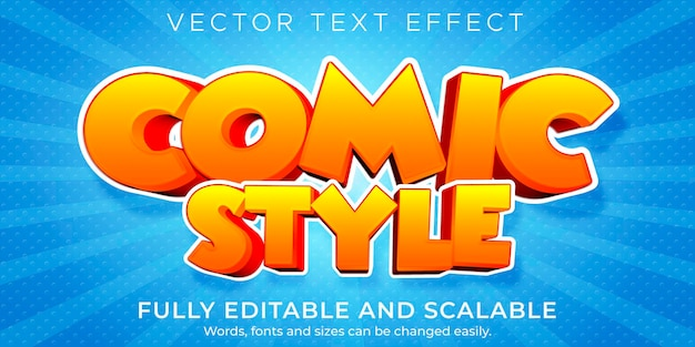 만화 스타일 텍스트 효과, 편집 가능한 만화 및 재미있는 텍스트 스타일