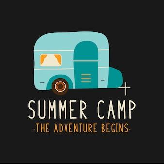 여름 캠프에 묘사된 만화 스타일의 트레일러는 티셔츠 디자인에서 모험이 시작됩니다.