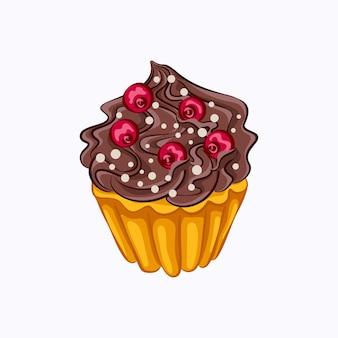 分離されたチョコレートクリームと赤いベリーのベクトルアイコンと漫画スタイルのバニラカップケーキ。