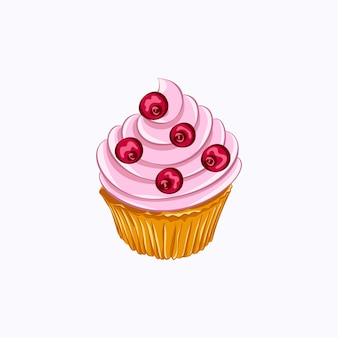 Cartoon style vanilla cupcake with pink whipped cream and cherry vector icon isolated on the white background