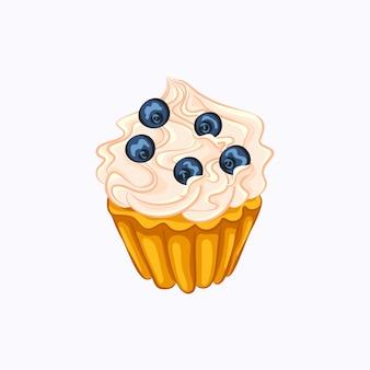 ホイップクリームと白い背景で隔離のブルーベリーベクトルアイコンと漫画スタイルのバニラカップケーキ
