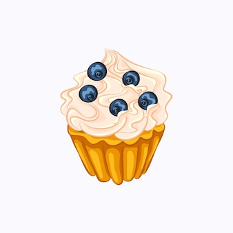 Cartoon style vanilla cupcake with whipped cream and blueberry vector icon isolated.