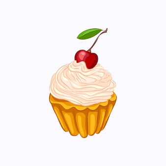 Cartoon style vanilla cupcake with whipped cream and cherry vector icon isolated on the white background