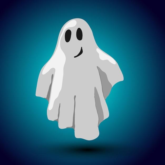 真夜中の背景に幽霊と漫画スタイルのベクトルハロウィーンカードデザイン