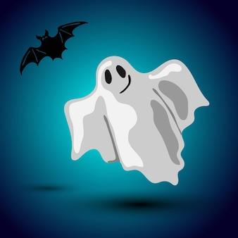真夜中の背景で飛んでいる幽霊とコウモリと漫画スタイルのベクトルハロウィーンチラシデザイン