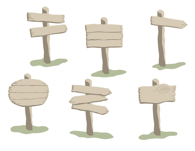 Cartoon style  weathered wooden sign set