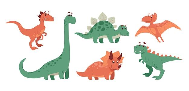 Набор динозавров в мультяшном стиле
