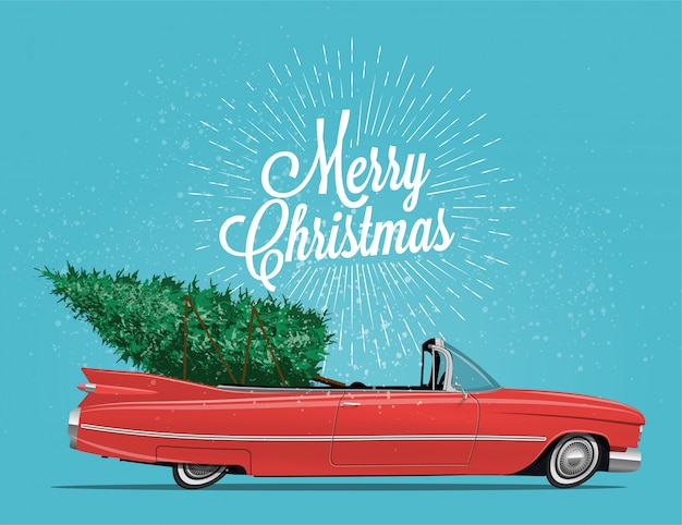 Cartoon styled side view vintage red cabriolet car with christmas tree on board.