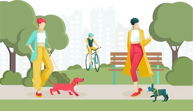 公共の公園で犬を歩く漫画スタイリッシュな女性