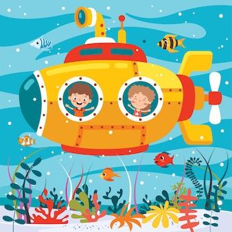 Cartoon submarine under the sea