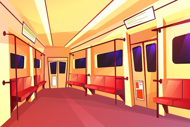 Cartoon subway train empty carriage inside interior with passenger seats, handrails doors