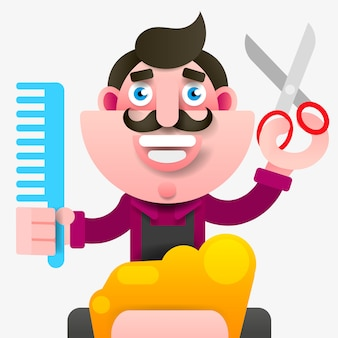Cartoon successful hairdresser in an apron with a scissors in hand