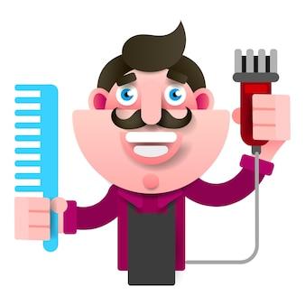 はさみを手にエプロンで成功した美容師を漫画します。若いスタイリッシュな美容師。白い背景に笑みを浮かべてプロのファッションスタイリスト。