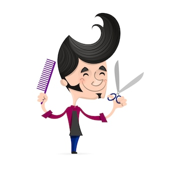 Cartoon successful hairdresser