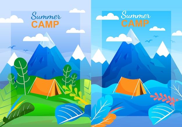 Cartoon summer camp vertical banner template set