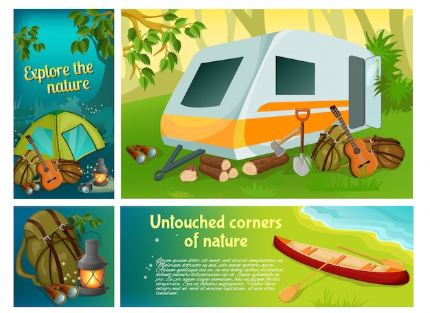 Cartoon summer camping colorful composition with camper trailer canoe guitar shovel axe backpack lantern tent binoculars