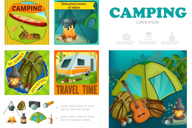 Cartoon summer camping template with camper trailer canoe backpack lantern camera flashlight tent knife campfire guitar