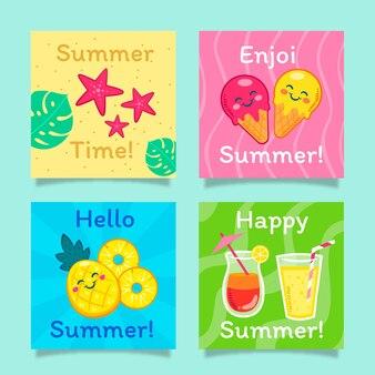 Collezione di carte estive dei cartoni animati