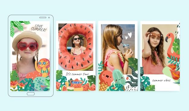 Raccolta di storie di instagram estate dei cartoni animati con foto
