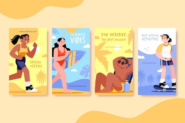 Raccolta di storie di instagram estate dei cartoni animati