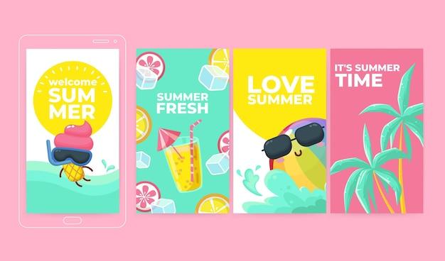 Cartoon summer instagram stories collection