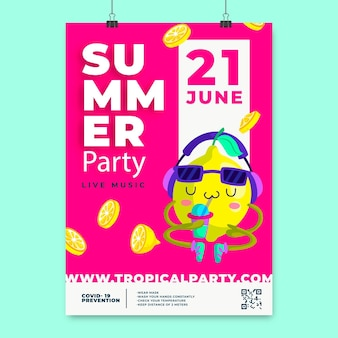 Cartoon summer party vertical poster template